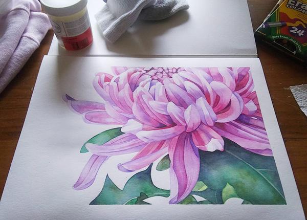 Ria Unson watercolor varnishing