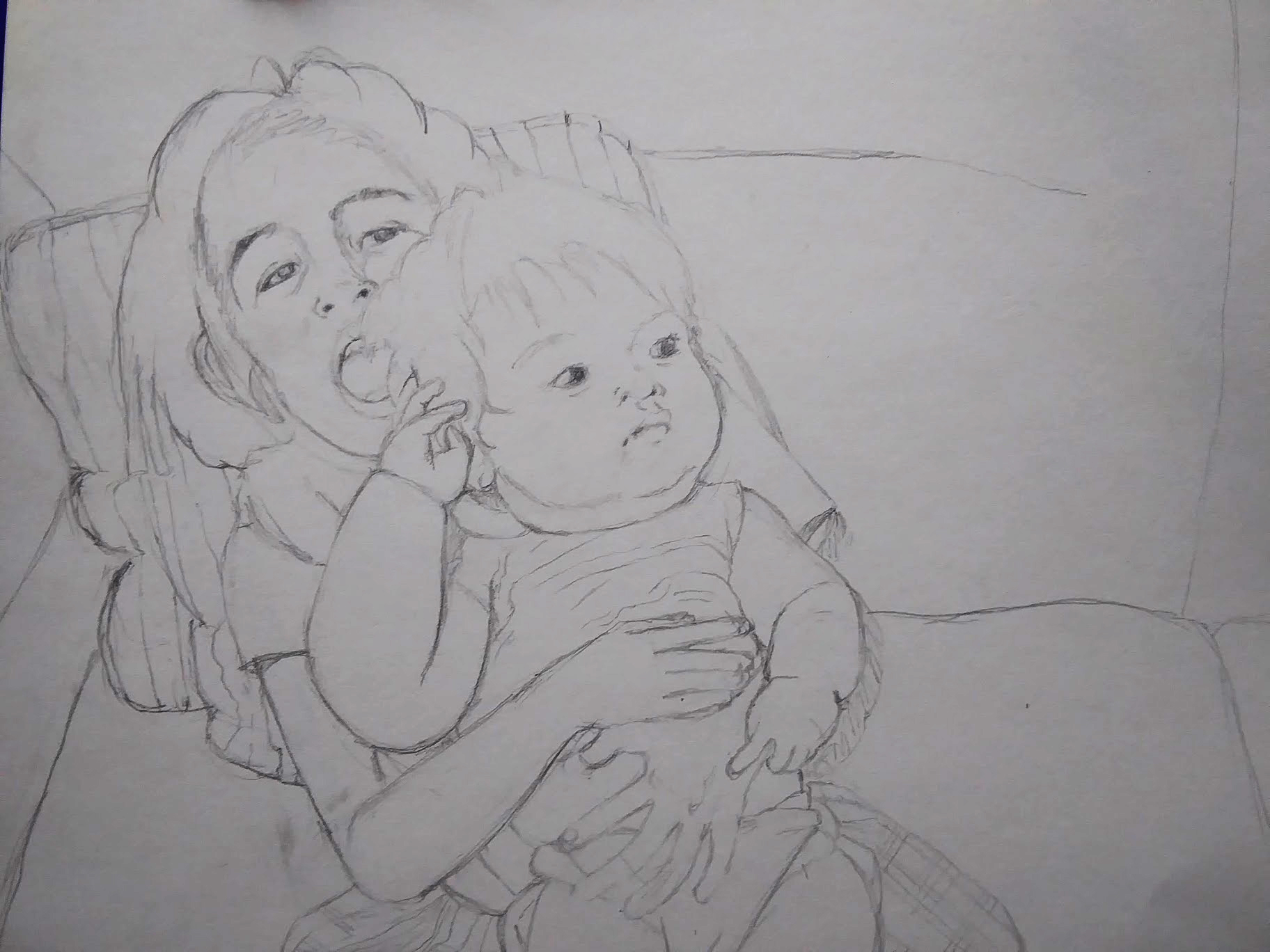 Ria Sharon sketch of girl and baby
