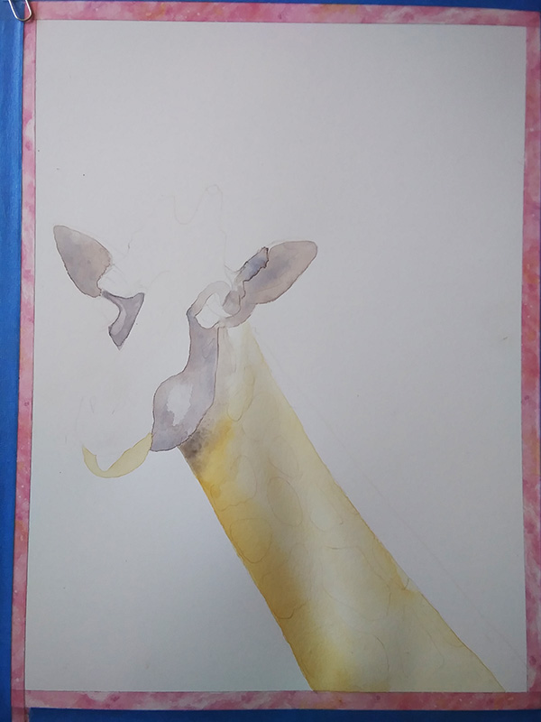 initial wash of giraffe watercolor