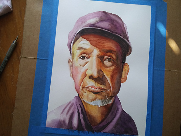 watercolor of old man complete