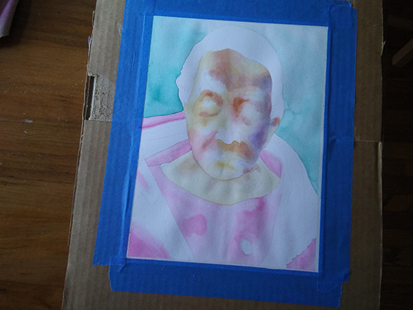 watercolor portrait in progress - first wash