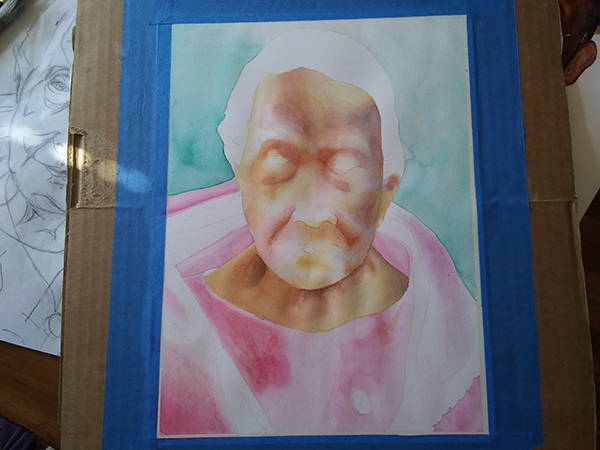 watercolor portrait in progress with more definition