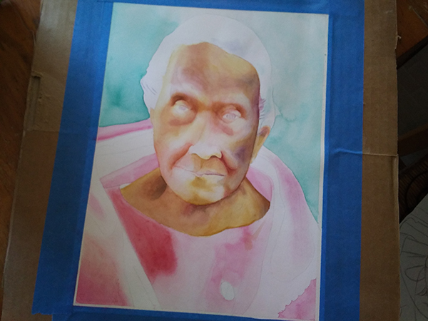 watercolor portrait in progress