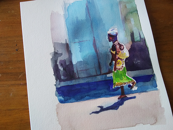 watercolor street scene complete