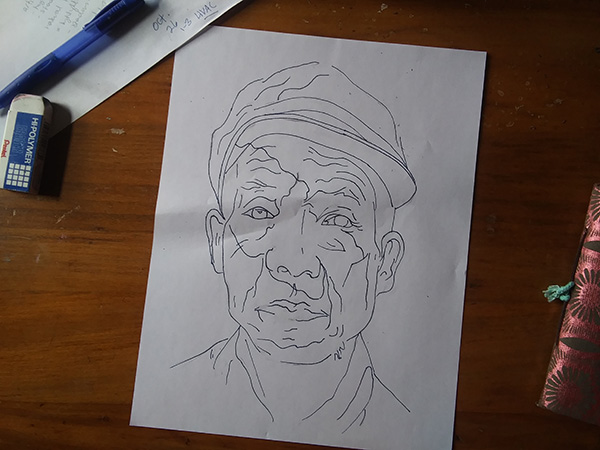 ink drawing of old man